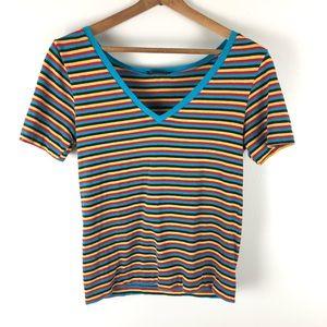 Vintage 70's Yves Saint Laurent stripe v-neck tee